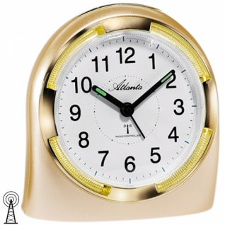 Atlanta 1404/9 Wecker Funk analog golden mit Licht Snooze