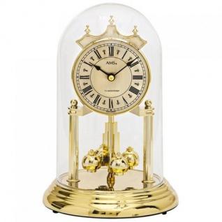 AMS 1204 Tischuhr mit Drehpendel Jahresuhr Quarz golden