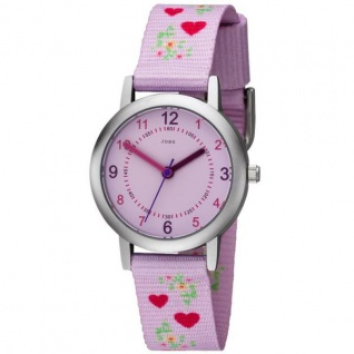 JOBO Kinder Armbanduhr Herzen rosa pink Quarz Kinderuhr Mädchenuhr