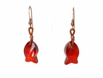 Ohrringe Fisch Rot Vergoldet MADE WITH SWAROVSKI ELEMENTS® 2 cm