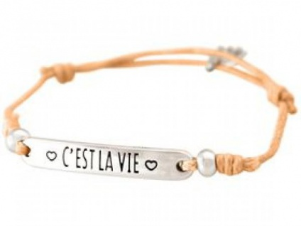 Gemshine Damen Armband Gravur C?Â?´EST LA VIE Silber Hellkoralle Rose