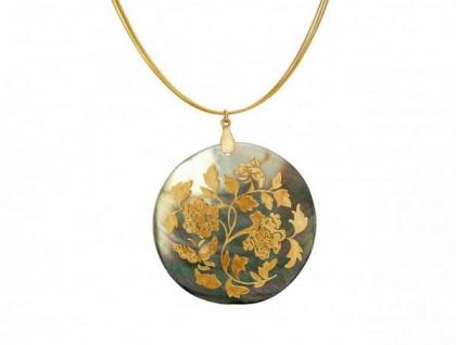 Halskette Medaillon Perlmutt Vergoldet Grau Schimmernd 5 cm