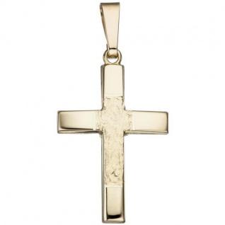 Anhänger Kreuz 585 Gold Gelbgold gehämmert Goldkreuz