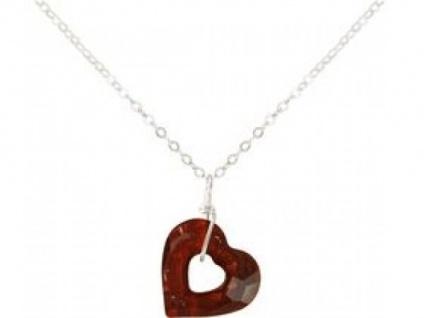Halskette Anhänger 925 Silber Herz Rot SWAROVSKI ELEMENTS® 45 cm