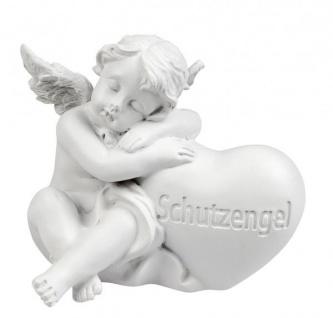 Grabengel mit Herz und der Aufschrift Schutzengel Grabschmuck Grabdeko liebevolle Grab-Engel-Figur Grableger wetterfest weiß 8cm gross