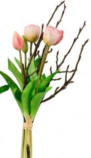 Künstliche Tulpen als Bund 5 Stück mit Zweigen grün rot 42 cm