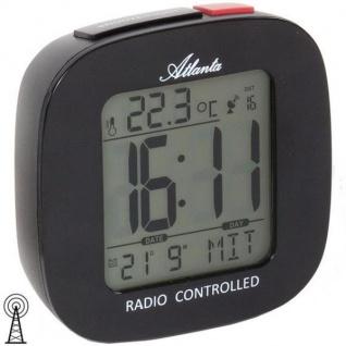 Atlanta 1873/7 Wecker Funk digital schwarz Snooze Datum Thermometer