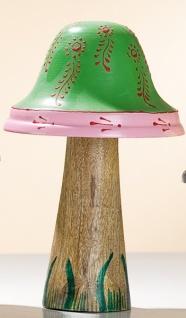 GILDE Dekofigur Pilz aus Holz und Metall, grün, 16 x 9 cm