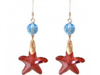 Ohrringe Rose Vergoldet Seestern Rot Blau WITH SWAROVSKI ELEMENTS®