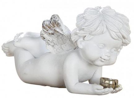 Schutz-Engel Figur Klein mit silbernem Herz Antik Weiß Wetterfest 7cm