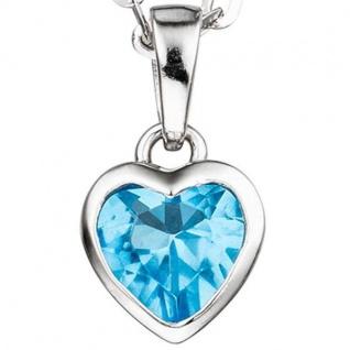 Kinder Anhänger Herz 925 Sterling Silber 1 Kristall blau hellblau