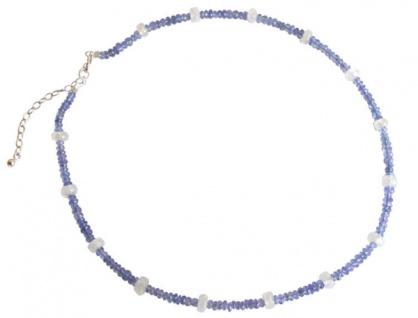 Tansanit und Mondstein Halskette