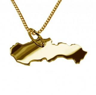 SLOWAKEI Kettenanhänger aus massiv 585 Gelbgold mit Halskette