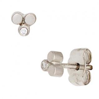 Ohrstecker 950 Platin mattiert 2 Diamanten Brillanten 0, 02ct. Ohrringe