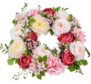 künstlicher Blumenkranz Türkranz rosa rot grün Pfingstrosen Nelken 40cm