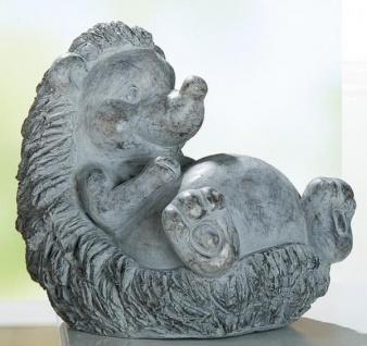 GILDE Dekofigur Igel Felix aus Magnesia in Antik Grau, liegend, 35 cm