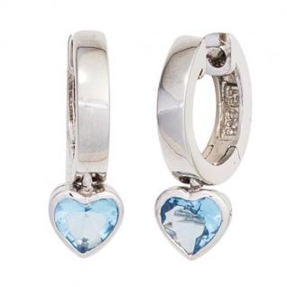 Kinder Creolen Herz 925 Sterling Silber 2 Zirkonia blau Ohrringe