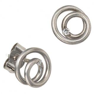 Ohrstecker 950 Platin mattiert 2 Diamanten Brillanten 0, 03 ct