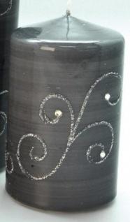 GILDE Stumpenkerze in Grau mit Silberverzierung, 16 x 7 cm
