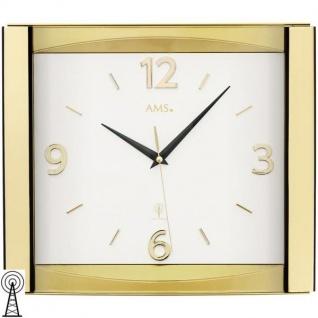 AMS 5613 Wanduhr Funk analog golden mit Glas