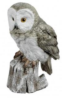 Eule Owl Eulen-Figur Deko-Kautz Herbsteule Herbstdeko/Weihnachten Schneeeule Wintereule Grau Weiß 23cm Groß