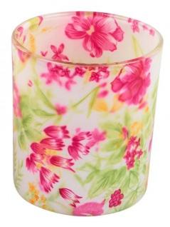 Windlicht-Glas dekorativer Teelichthalter rosa grün Blumen-Design 8 cm