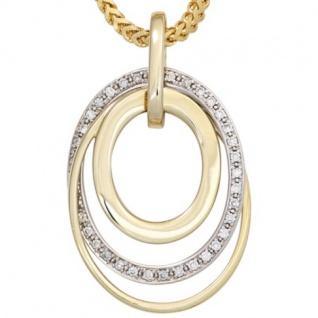 Anhänger 585 Gelbgold Weißgold kombiniert 34 Diamanten 0, 14 ct.