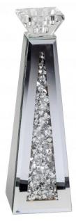 moderner Spiegelglas-Teelichthalter Kerzenleuchter aus klarem geschliffenem Glas Spiegelrand kleinen Glassteinen dekoriert 23cm