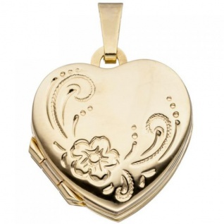 Medaillon Herz für 4 Fotos 333 Gold Gelbgold Herzanhänger Anhänger zum Öffnen