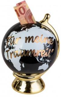 Sparschwein Globus Traumreise Weltkugel schwarz gold 13 x 17 cm
