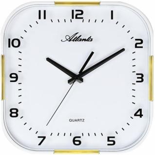 Atlanta 4455/9 Wanduhr Quarz analog weiß golden mit Glas leise