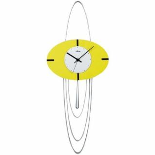 Atlanta 5018/2 Wanduhr Quarz mit Pendel silbern gelb Designeruhr