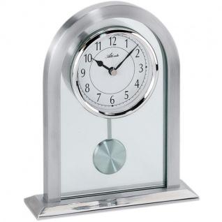 Atlanta 3030 Tischuhr Quarz analog Silbern mit Pendel und Glas