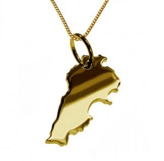 LIBANON Kettenanhänger aus massiv 585 Gelbgold mit Halskette