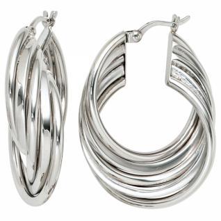 Creolen 925 Sterling Silber rhodiniert Ohrringe 10, 1 mm breit