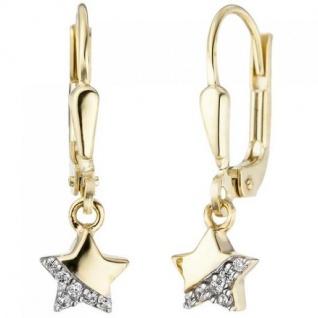 Kinder Ohrhänger Stern 375 Gold Gelbgold 12 Zirkonia Ohrringe