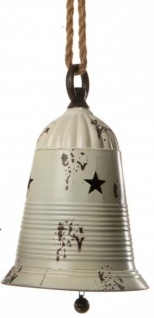 Weihnachtsglocke Hänger Weihnachtskugel groß Christbaum-Glocke Jingle Bell xxl Metall antik-weiß 16 cm Ø