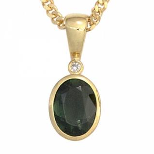 Anhänger 585 Gold Gelbgold 1 Turmalin grün 1 Diamant 0, 01ct.
