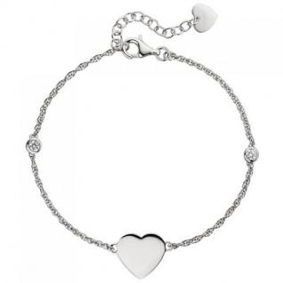 Armband Herz 925 Sterling Silber 2 Zirkonia 22 cm Silberarmband
