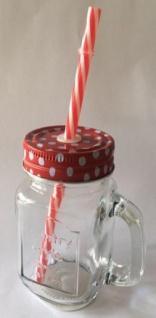 DIO Partyglas mit Aludeckel, Henkel und Strohhalm, rot, 9 x 11, 5 cm