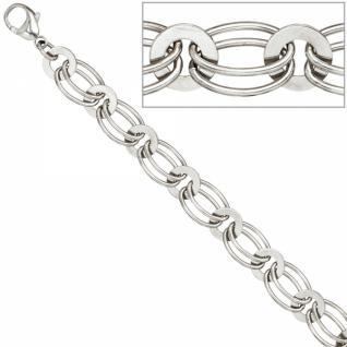 Armband 925 Sterling Silber rhodiniert 19 cm Karabiner 8, 7 mm breit - Vorschau 2