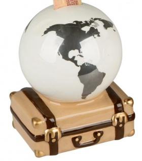 Sparschwein-Globus auf Koffer Urlaubskasse silber weiß braun 16 x 16 cm