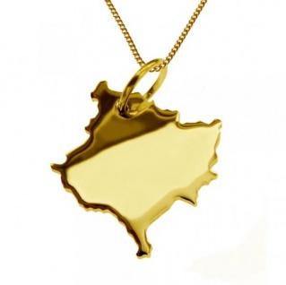 KOSOVO Kettenanhänger aus massiv 585 Gelbgold mit Halskette