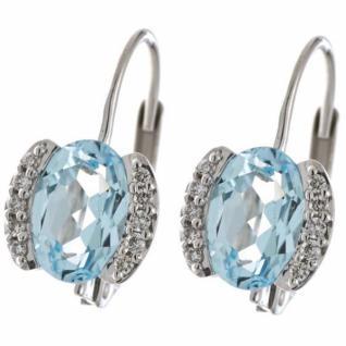 Boutons 585 Gold Weißgold 20 Diamanten 2 Blautopase blau Ohrringe
