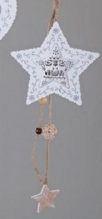 Dekohänger Stern aus Holz und Metall in Weiß und Braun, 40 cm