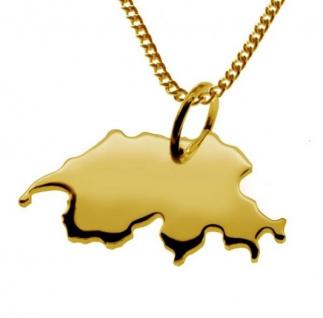 SCHWEIZ Kettenanhänger aus 585 Gelbgold mit Halskette