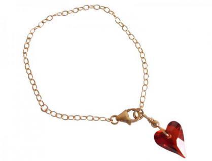 Herz Armband Vergoldet Rot SWAROVSKI ELEMENTS
