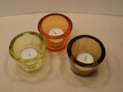 3 Kerzengläser, rund in 3 Farben