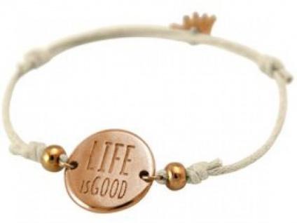 Gemshine Damen Armband Gravur LIFE IS GOOD Rose Vergoldet Nude