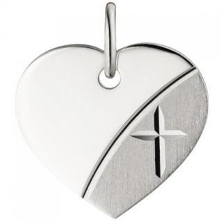 Anhänger Herz mit Kreuz Gravur Gravurplatte Herz 925 Silber teil matt
